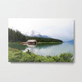 Boat House On Maligne Lake Metal Print