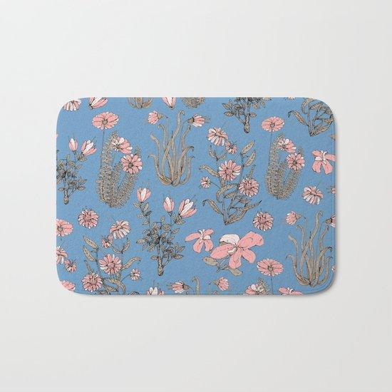 Flowers on Blue! Bath Mat