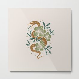 Abstract Mid Century Snake Flowers Metal Print