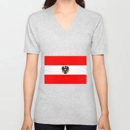 Austrian Flag and Coat of Arms Unisex V-Neck