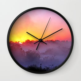 Sunrise with morning fog at a River in Africa  Wall Clock