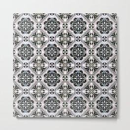 Portuguese Tiles Azulejos Black White Pattern Metal Print