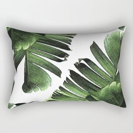 Banana Leaf - Tropical Leaf Print - Botanical Art - Modern Abstract - Green, Olive Rectangular Pillow