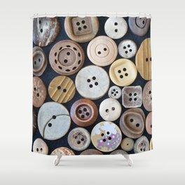 Wooden Buttons Shower Curtain