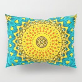 Birds of Paradise Circular Geometric Blended Floral Pattern \\ Yellow Green Blue Teal Color Scheme Pillow Sham