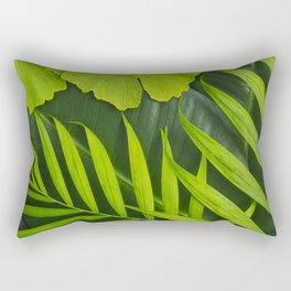 Fresh Green Tropical Palm and Gingko Leaf Rectangular Pillow