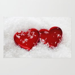 Love Hearts in Snow Rug