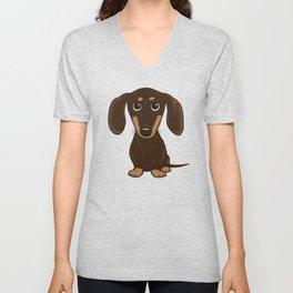 Chocolate Dachshund | Cute Cartoon Wiener Dog Unisex V-Neck