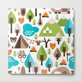 Wild camping trip with fox and wild animals illustration Metal Print