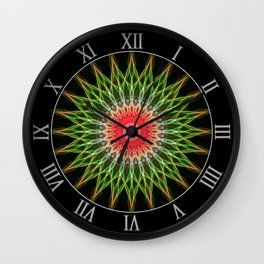 Mandalas pattern in red and green Wall Clock
