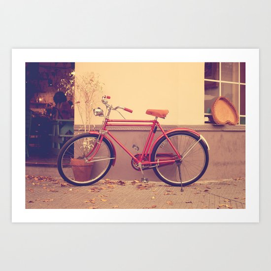 Vintage and Retro Pink Bicycle on the Street Art Print