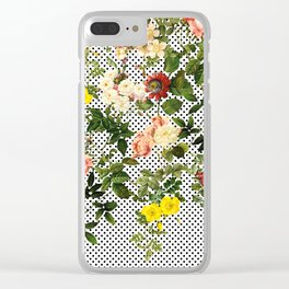 Points and Flowers Pattern Clear iPhone Case
