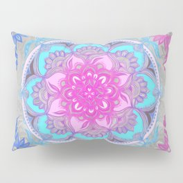 Pink, Purple and Turquoise Super Boho Doodle Medallions Pillow Sham