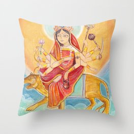 Beautiful Hindu goddess rendering Chandraghanta Devi. Navaratri. Day 3. Pastel drawing. Throw Pillow