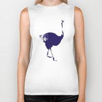ostrich Biker Tanks featuring Ostrich by Auberginette