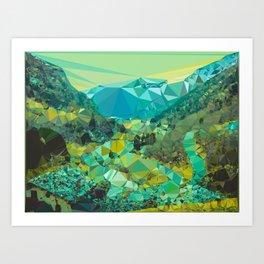 Mountain Village Landscape Low Poly Geometric Triangles Art Print