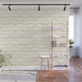 Summer Party Banner Flags Illustrated Print in Peach and Green Wall Mural