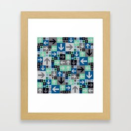Arrow Pattern Blue Green Gray Framed Art Print