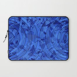 psychedelic geometric circle pattern abstract background in blue Laptop Sleeve