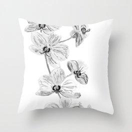 Black white orchids, kitchen decor, illustration Throw Pillow