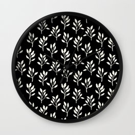Modern ivory black hand painted watercolor floral pattern Wall Clock