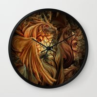 phoenix Wall Clocks featuring Phoenix by SensualPatterns