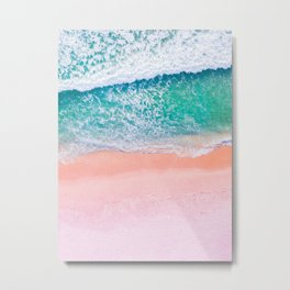 Pink Sands Turquoise Water Caribbean Dream Metal Print