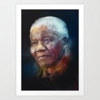 mandela Art Prints featuring Mandela by turksworks