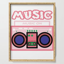 """Cute and  pink """"Radio Music"""" tee design. Makes a nice gift to your friends and family this holiday!  Serving Tray"""