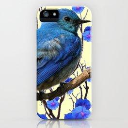 BLUE BIRD & BLUE MORNING GLORIES ART FROM  SOCIETY6 BY SHARLESART. iPhone Case