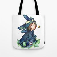 toothless Tote Bags featuring toothless by noCek