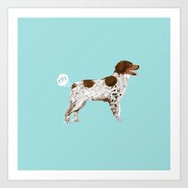 Brittany Spaniel dog breed funny dog fart Art Print