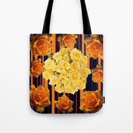 GOLDEN & YELLOW ROSES DARK STRIPES ART Tote Bag