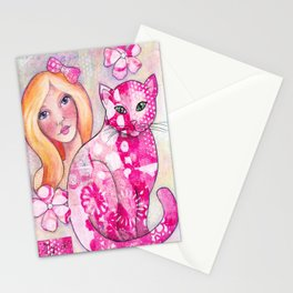 Girl with Pink Cat Stationery Cards