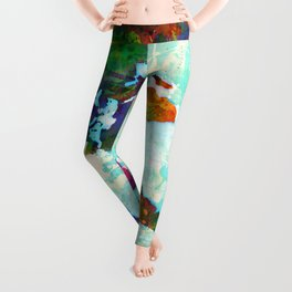 Abstract Map of the World Leggings