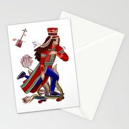 Mongolian lady on skate Stationery Cards