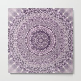 Purple feather mandala Metal Print