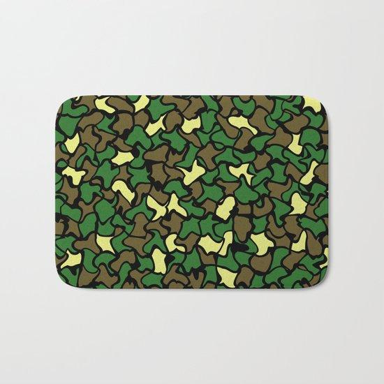 Camouflage Wobble Tile Pattern Bath Mat