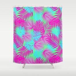 Neon Pink & Blue Tropical Print Shower Curtain