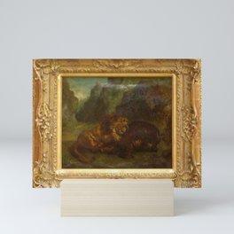 Eugne Delacroix - Lion et Sanglier Mini Art Print