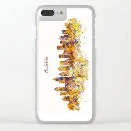 Charlotte Watercolor Skyline Clear iPhone Case