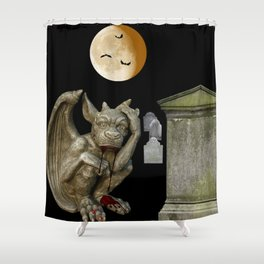 Bloody Gargoyle, Graveyard, Full Moon, Monster, Demon, Halloween, Horror decor, Shower Curtain