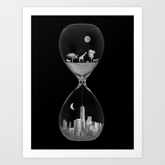 THE EVOLUTION OF THE WORLD b/w Art Print