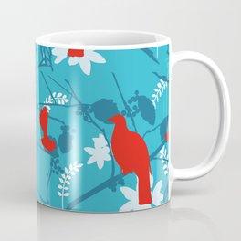 NZ Native Red Kereru (Wood Pigeon) and Fantail on Blue Coffee Mug