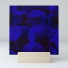 Abstract soap of blue molecules and bubbles on a dark marine background. Mini Art Print