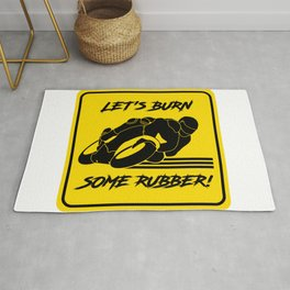 Lets Burn some Rubber! High Speed Motorcycle Racer Yellow Caution Rug