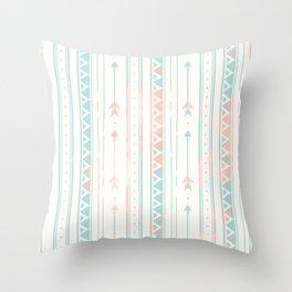 Geometrical blush blue coral pink bohemian arrows Throw Pillow