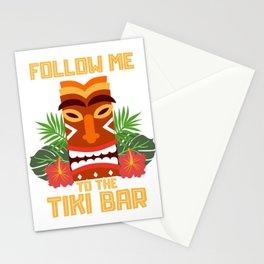 Follow Me To The Tiki Bar Gift Design Hawaiian Island  Print Stationery Cards