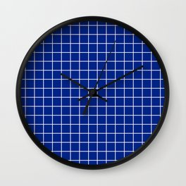 Resolution blue - blue color - White Lines Grid Pattern Wall Clock