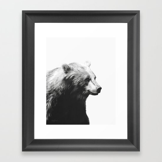 Bear // Calm (Black + White) Framed Art Print